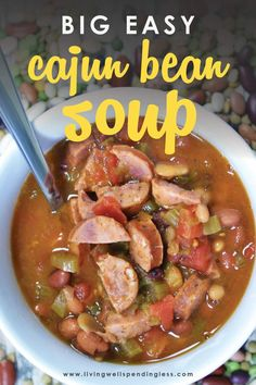 This yummy Cajun bean soup comes together fast, then freezes beautifully until you're ready to throw it in the crock pot, no pre-soaking required. #soup #dinner #yummy #delicious #foodblogger #healthy #soupseason #soupoftheday Slow Cooker Soup, Slow Cooker Recipes, Crockpot Recipes, Freezer Recipes, Healthy Recipes, Freezer Meals, 15 Bean Soup, Bean Soup Recipes, Creole Recipes