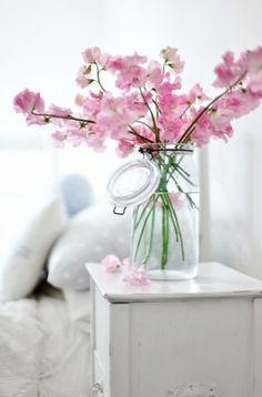 Spring blossoms & blue mason jar