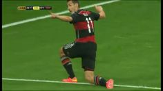 Klose celebrates scoring his 16th World Cup Goal to take him clear of Ronaldo as the all time leading goal scorer in the World Cup