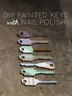 painted house keys with nail polish by lharris graphics! You can use glitter too!DIY painted house keys with nail polish by lharris graphics! You can use glitter too! Nail Polish Keys, Nail Polish Crafts, Nail Polish Hacks, Best Nail Polish, Diy With Nail Polish, Essie Polish, Key Crafts, Easy Diy Crafts, Crafts To Do