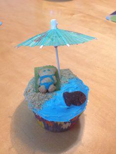 Swim party / luau cupcake