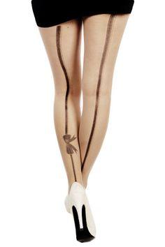 Takasauma Rusetilla -Sukkahousut   Cybershop Stockings, Fashion, Moda, Fashion Styles, Pantyhose Legs, Socks, Fashion Illustrations, Thigh High Tights, Tights