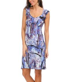 Another great find on #zulily! Blue & Purple Abstract Flutter-Sleeve Dress by Astuces #zulilyfinds