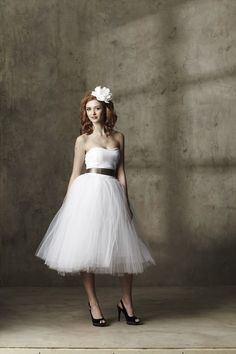 Casual+Tea+Length+White+Cotton+Sweetheart+Tulle+Dress++A+by+ouma,+$260.00