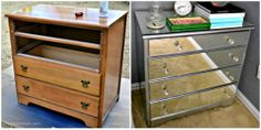I'm loving the mirrored night stands seeing them everywhere. A DIY project transforming an ugly dresser to a beauty.