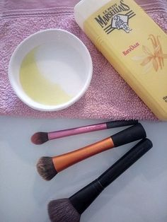 DIY Brush Cleanser: Mix olive oil and soap, clean with that your (dry) brush and then wash with clean water.