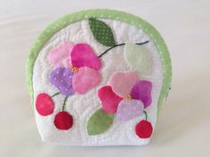 quilted make up pouch with appliqued flowers and cherry/quilted cosmetic bag with appliqued flowers and cherry pouch pink, rose mauve, white Applique, Cosmetic Pouch, Quilt Making, Coin Purse, Make Up, Cosmetics, Flowers, Etsy, Scrappy Quilts