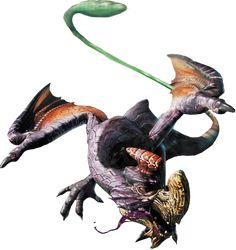 Purple Gypceros is a Subspecies of Gypceros introduced in Monster Hunter Freedom. Whilst the common Gypceros' colors are blue and pink, the Purple Gypceros' are a more vivid purple and green.