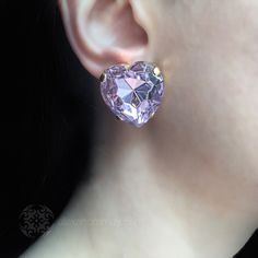 Anton Heunis 'Les Demoiselles' Vintage Heart Amethyst Crystal Drop Ear | Alexandra May Jewellery