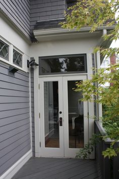 Tall Narrow French Doors With A Transom Overhead