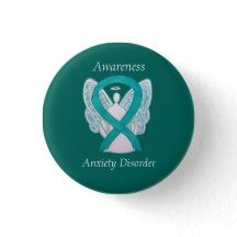 Shop Anxiety Disorder Awareness Angel Teal Ribbon Pin created by AwarenessGallery. Mental Illness Awareness Week, Social Awareness, Create Awareness, Awareness Ribbons, Teal Ribbon, Ribbon Art, Mental Health Illnesses, Testicular Cancer, Myasthenia Gravis