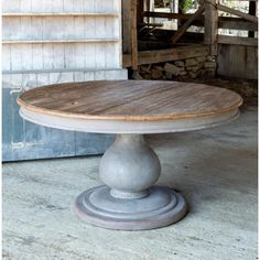 Grayline Pillar Dining Room or Kitchen Table Gray Barnwood Large Round – Decorating Foyer Round Farmhouse Table, Large Round Dining Table, Painted Round Tables, Round Kitchen Tables, Round Wood Table, Round Entry Table, Foyer Tables, Painted Dining Room Table, Wood Tables