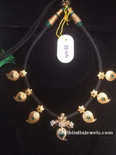 Black thread gold emerald mango necklace
