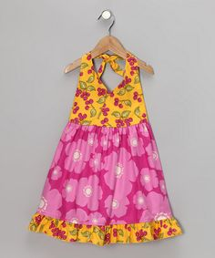 Take a look at this Magenta Poppy Halter Dress - Toddler & Girls by Beary Basics on #zulily today!