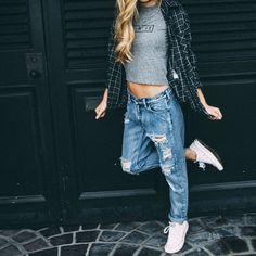awesome 50 Идей, с чем носить женские джинсы-бойфренды (фото) Читай больше http://avrorra.com/dzhinsy-bojfrendy-zhenskie-s-chem-nosit-foto/