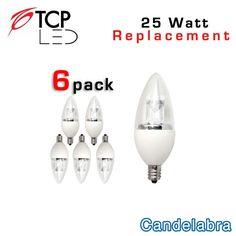 TCP LED Candelabra - E12 - 25 Watt Equal 6 Pack LDCT4W27K6, LDCT4W50K6 | EarthLED.com $30/6