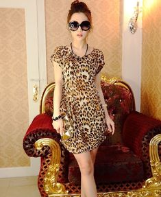 Gender: WomenModel Number: SummerWaistline: EmpireStyle: CuteSilhouette: LooseSleeve Style: RegularDresses Length: Above Knee, MiniMaterial: ModalN Patterned Leggings Outfits, Animal Print Outfits, Short Dresses, Summer Dresses, Look Chic, Girly Outfits, Bollywood Fashion, Look Fashion, Like4like