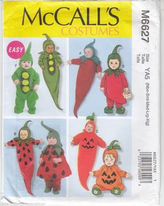 Infants Toddlers Vegetable Costumes McCalls Sewing Pattern 6627 Uncut