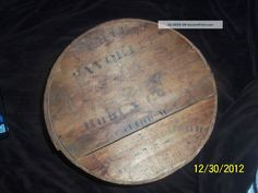 Vintage Primitive Round Wooden Hat/cheese Box - Lid And Stain Primitives photo