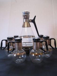 Mid Century Pyrex Coffee Beakers Candle Warmer Pot 6 Coffee Cups Carafe Stand #Pyrex