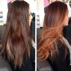 Copper Balayage Before and After - Best Balayage Hair. Balayage For Dark Hair. Ombre Hair Color, Hair Color Balayage, Hair Highlights, Red Ombre, Caramel Highlights, Copper Balayage Brunette, Caramel Balayage, Baylage Ombre, Copper Highlights On Brown Hair