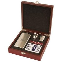 Wood Box with Monogram Flask and Playing Cards