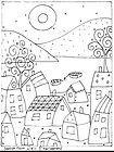 RUG HOOK PAPER PATTERN Seaside Town Folk Art - Karla G