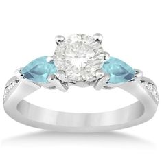 Diamond & Pear Aquamarine Engagement Ring Platinum (0.79ct), Women's, Size: 9.25, Silver