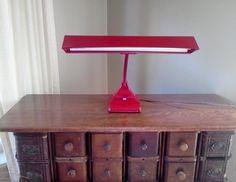 Retro Desk Lamp Red Metal Gooseneck by FingerLakesFinds on Etsy, $45.00