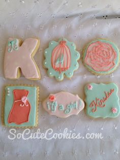 shabby chic baby shower cookies - love the rose & birdcage. Good notes on design inspiration & colours