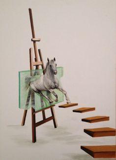 "Saatchi Art Artist Eka Peradze; Painting, ""Horse #8 3D. Eka Peradze. 50x70cm"" #art"