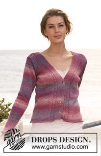 """Knitted DROPS jacket with cables in """"Delight"""". Size S-XXXL. ~ DROPS Design"""