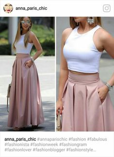 Plated high waisted skirts Love the style of this skirt. (NOT the top :-)) Fashion dresses, clothings, looks★ different top for the office Dream must haves Prom Dresses Two Piece, Elegant Prom Dresses, Evening Dresses, Casual Dresses, Fashion Pants, Hijab Fashion, Fashion Dresses, Classy Outfits, Chic Outfits