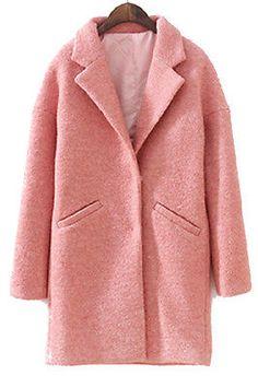 Coral Pink Blush Oversized Peacoat Basic Notch Collar Boyfriend Wool Jacket Coat