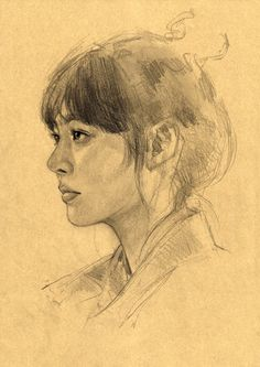 Portrait sketches on Toned paper / Pencil