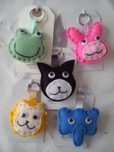Animal Keyrings / bag charms by DaisyFelts on Etsy
