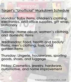 Target Clearance Mark-Down Schedule