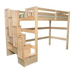 Aria Staircase Full Loft Bed Kids Youth Loft Beds with Stairs