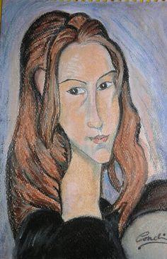 Jeanne Hébuterne de Amedeo Modigliani. Pintura a pastel