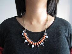 Crystal Fan Necklace J Crew Inspired Glass Necklace by FanDuoDuo, $26.00