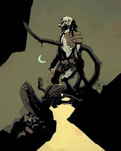 Alien Vs. Predator: Fire and Stone 1 Mike Mignola Variant Cover. #AlienvsPredatorFireandStone #FireandStone #LV223 #USCSSPrometheus #christophersebela #horror #DarkHorseBooks #DarkHorseComics #Comics #Predator #PredatorClan #PredatorTribe #PredatorComics #Yautja #alien #YautjaTribe #AlienvsPredatorComics #xenomorph #AlienvsPredator #AVP #AVPComics #MikeMignola