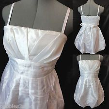 New POETRY Metallic Pleated Bubble Dress womens L White mini Empire Formal Prom