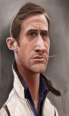 Caricature of the magnificent Ryan Gosling as seen in the movie Drive. Caricature Artist, Caricature Drawing, Funny Caricatures, Celebrity Caricatures, Ryan Gosling, Celebrity Drawings, Best Portraits, Wow Art, Funny Art