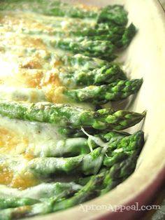 Asparagus Gratin...Asparagus w/olive oil, sea salt & parmesan cheese