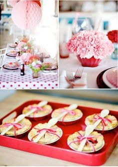 Cute idea! Minnie Pies with spoons on top. Vintage Polka Dot Party - Karas Party Ideas - The Place for All Things Party