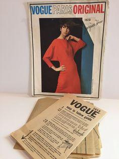 Vintage1960s Vogue Paris Original Dress Pattern 1513 By Jacques Heim Size 10