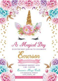 Unicorn Birthday Invitation, Unicorn Party Invitation, Unicorn Party