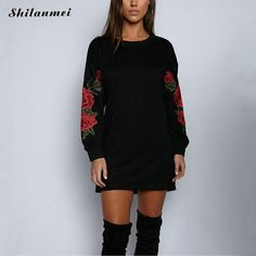 aafc06549ab Sweatshirts Flower Embroidery Mini Dresses Black FA01  women  womensfashion   womenswear  womenclothing