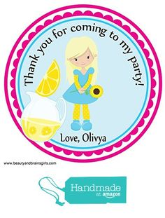 Lemonade Summer Pool Party Theme Party Favors Birthday Custom Personalized- Favor Birthday Stickers - Treat Toppers 24 Stickers Popular Size 2.5 Inches. Labels Favors from Custom Party Favors, Handmade Craft , and Educational Products https://www.amazon.com/dp/B01GJQM13M/ref=hnd_sw_r_pi_dp_rPNIxbX6V8ZKP #handmadeatamazon