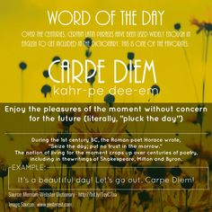 "TTG Word of the Day! ""Carpe Diem""  Follow us on > twitter.com/ourteacherstogo #WOTD  #Knowledge  #Learning  #WaybackWednsday"